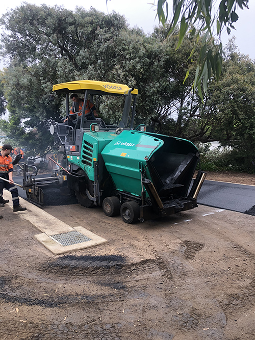 Vogele Paver working on paving patch car park in Ocean Grove